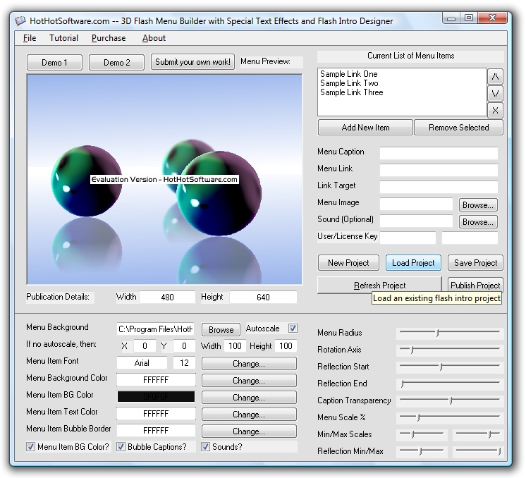 purchase 3d flash menu builder with special text effects and flash