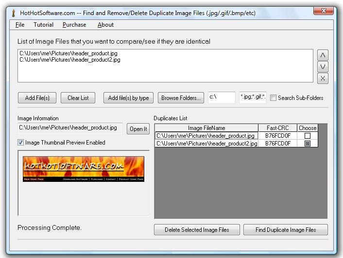 Duplicate image file finder to find duplicate jpg files