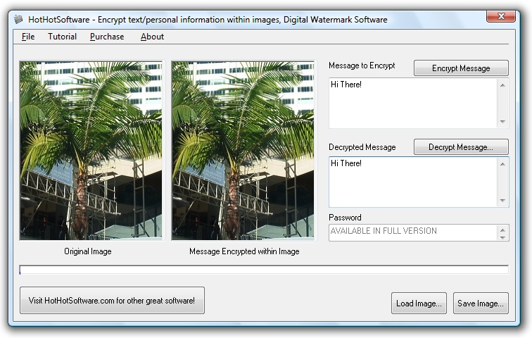 Encrypt your text within image files! Digital wate 9.0