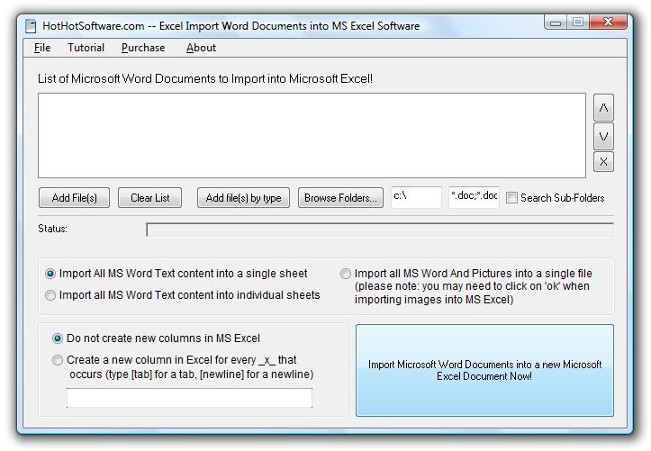 Excel Import Word Documents into MS Excel