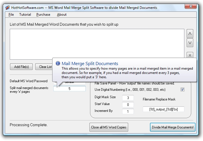 MS Word Mail Merge Split Software to divide Mail M 9.0