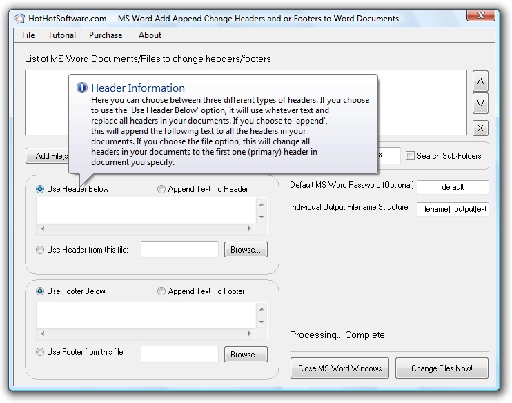 MS Word Add Append Change Headers and or Footers t 9.0
