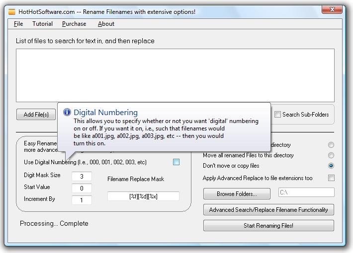 File Renamer software to rename files, a batch file rename