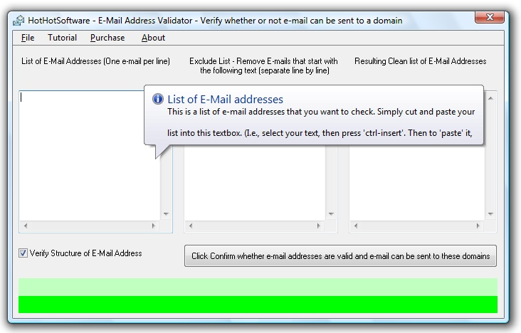 E-Mail Validator - check and verify if an e-mail address exists and is valid by using the mailserver Software!