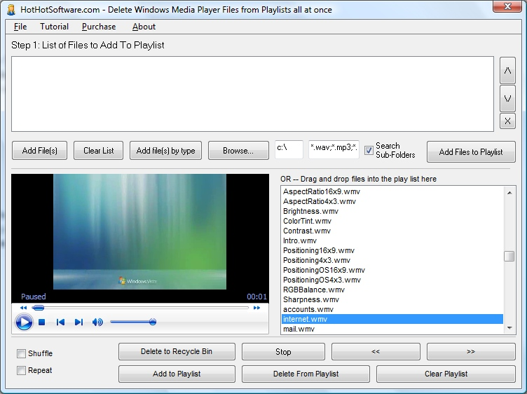 Delete Windows Media Player Files from Playlists a 9.0