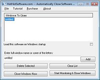 Click for a larger image of the Automatically Close Software Windows Close Programs and Close Popups software!