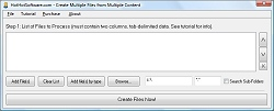 Click for a larger image of the Create Multiple Files from Multiple Content software!
