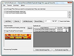 Find and remove or delete duplicate image jpg png gif or bmp files from your system