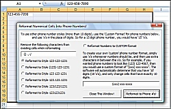 Click for a larger image of the Excel Customize Format and change numbers into phone numbers format with dashes etc Software software!