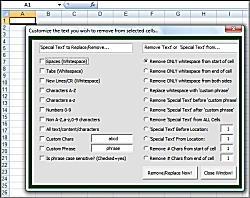 Click for a larger image of the Excel Delete Replace and Remove Special Text Spaces and Characters from Multiple Cells Software software!