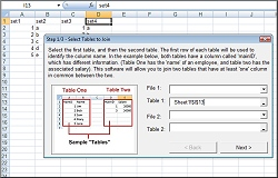 Click for a larger image of the Excel Join Merge or Match Two Tables software!