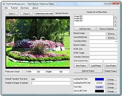 Click for a larger image of the Flash Banner Slideshow Maker software!