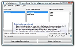 Click for a larger image of the MS Access Change Text Case to Uppercase Lowercase Propercase and Sentence Case software!