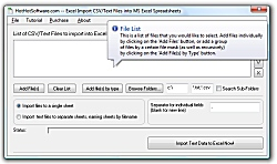 Click for a larger image of the Excel Import CSV Files into MS Excel software!