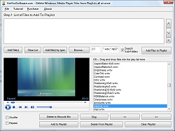 Click for a larger image of the Delete Windows Media Player Files from Playlists all at once software!